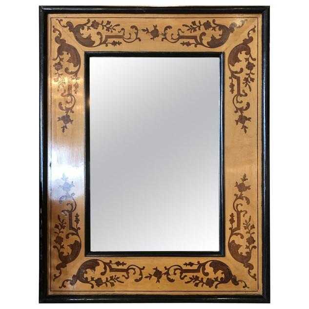 Victorian Mahogany Mirror With Inlaid Design