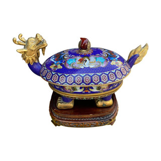 Three-Tier Lidded Cloisonné Chinese Turtle/Dragon Censor on Stand