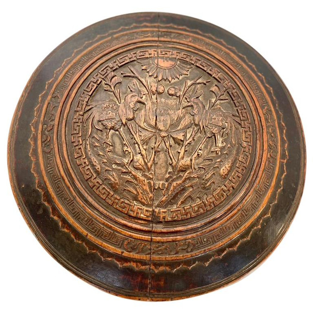Antique Large Round Wooden Container Hand Carved Lid
