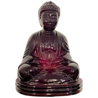 Chinese Antique Amber Gillinder Glass Sitting Buddha Paperweight