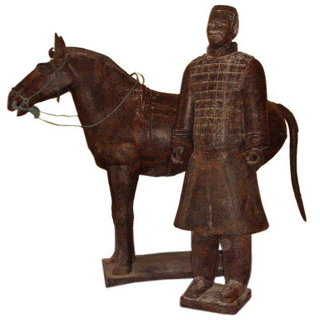 Chinese Bronze Life-Size Warrior and his Horse
