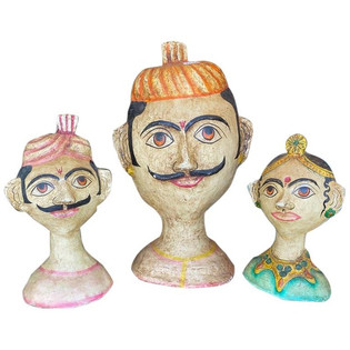 Three Composition Hindu Folk Art Heads