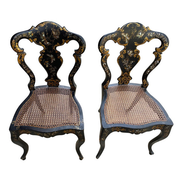 Pair of Victorian Japan Mother of Pearl Side Chairs