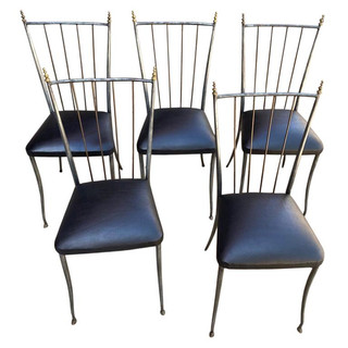 Set of Five '5' Paris, France Cafe Steel Chairs with Ostrich Leather Seats