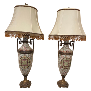 Tall Lamps Beaded Shades a Pair