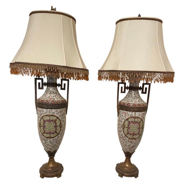Tall Lamps Beaded Shades a Pair