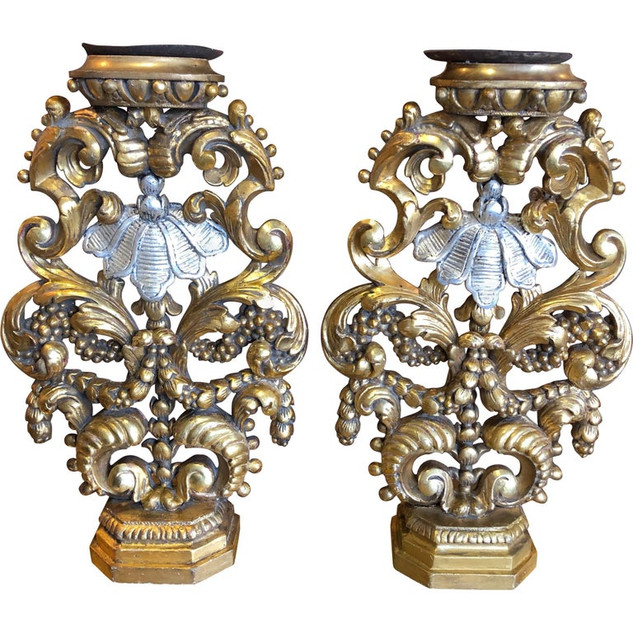 Baroque Style Giltwood and Silver Gilt Candlesticks - a Pair