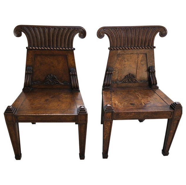 Pair English hand carved Hall chairs
