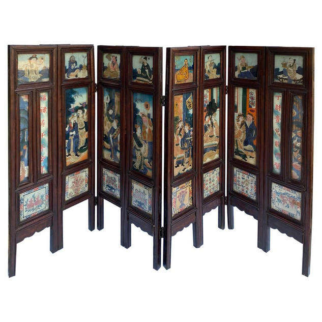 Chinese Glass Tile Folding Screen/Fireplace Front