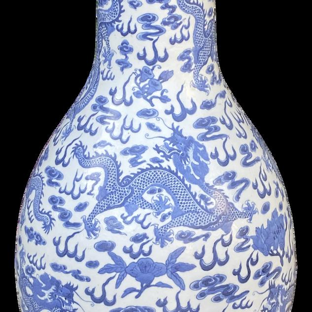 Chinese Blue and White Bottleneck Dragon Vase