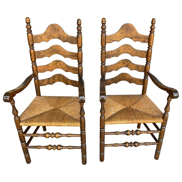 PAIR French Ladder Back Armchairs