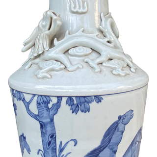 Chinese Blue and White Vase With Two Dragons in Relief