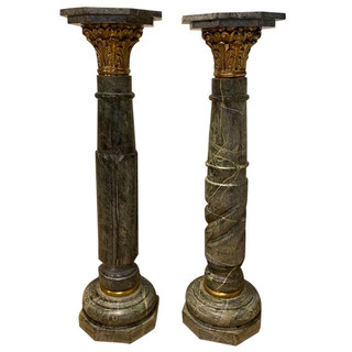 Pair of Directoire Style Plant Stands with Marble Tops Pair of Early 20th Century Swedish Wrought Iron Pedestals / Plant Stands Pair of Painted Iron Pedestals HomeFurnitureBuilding and Garden ElementsPedestals and Columns Pair of Louis XV Marble Pedestals/Stands For Sale This pair of have been handcrafted/carved having a little different design in the column part, but the same size, shape and design all-over/ gilt bronze capitals and ring at bottom in a n octagon shape top and bottom. French Pair of Louis XV Marble Pedestals/Stands For Sale Hand-Carved Pair of Louis XV Marble Pedestals/Stands For Sale Pair of Louis XV Marble Pedestals/Stands In Good Condition For Sale In Sarasota, FL Early 20th Century Pair of Louis XV Marble Pedestals/Stands For Sale Pair of Louis XV Marble Pedestals/Stands For Sale 1 Pair of Louis XV Marble Pedestals/Stands For Sale 2 Pair of Louis XV Marble Pedestals/Stands For Sale 3 Pair of Louis XV Marble Pedestals/Stands For Sale 4  view larger image ofPair of Louis XV Marble Pedestals/Stands For Sale view larger image of This pair of have been handcrafted/carved having a little different design in the column part, but the same size, shape and design all-over/ gilt bronze capitals and ring at bottom in a n octagon shape top and bottom. view larger image of French Pair of Louis XV Marble Pedestals/Stands For Sale view larger image of view larger image of view larger image of view larger image of view larger image of view larger image of view larger image of Want more images or videos? Request additional images or videos from the seller Contact Seller  1 of 11     Pair of Louis XV Marble Pedestals/Stands