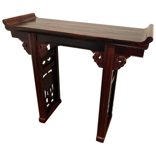 Antique Chinese Ming Style Two Legged Wooden Altar Table