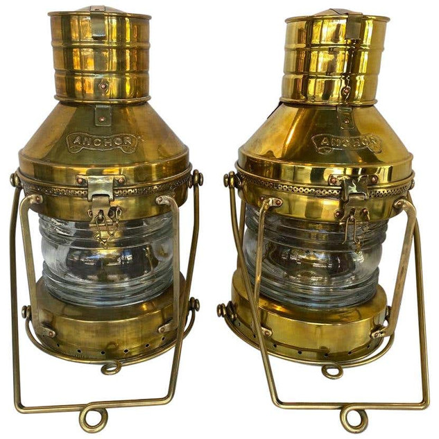 Pair of Large Nautical Antique Brass Anchor Lanterns