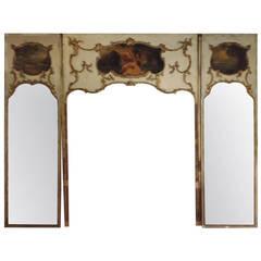 French Trumeau Mirror Wall Unit