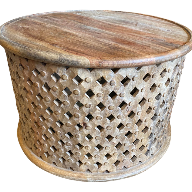 1980s Hand Carved African Drum Table