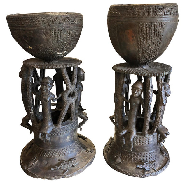 Pair of Bamileke Bronze Planters/Urns