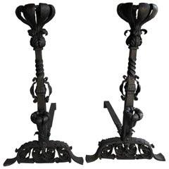 Pair of Iron Andirons