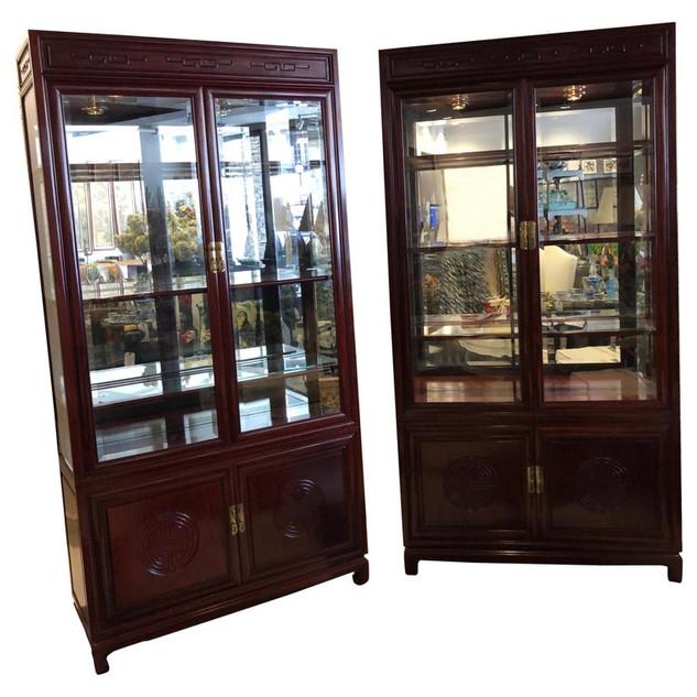 Pair Mahogany Display Cabinets