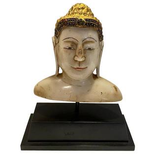 Tibet Marble Buddha Bust on Stand