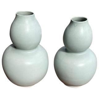 Pair of Antique Thai Double Gourd Vases