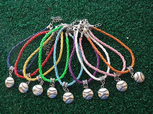 Baseball Charm Braided Rope Bracelet