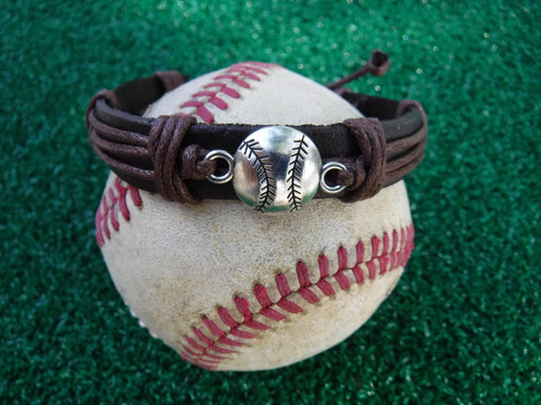 Uni Leather Cuff Bracelet Accented With Waxed Cording And Baseball Charm Center Is Adjule To Fit A Variety Of Sizes