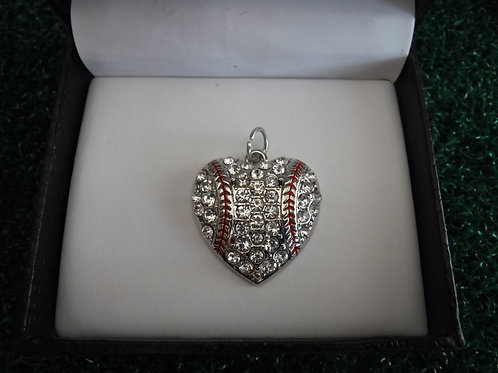 Charm - Clear Crystal Heart With Red Seams