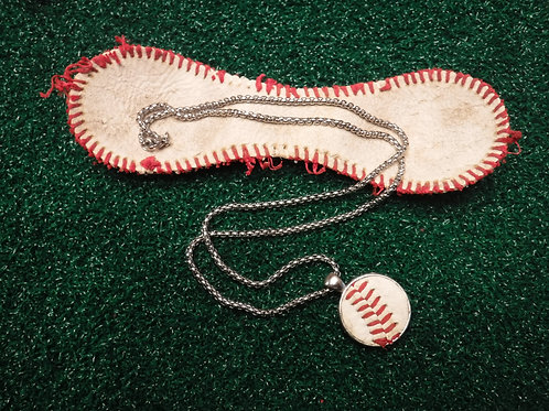 "22"" Bead Chain with 1″ Baseball Leather Pendant - Stainless Steel"