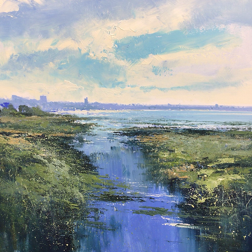"""""""Incoming tide Leigh""""  60x60cm by Jonathan Trim"""