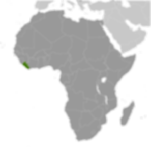 Liberia in green on west coast of Africa.