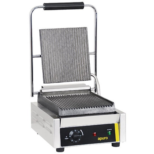 Apuro Bistro Single Contact Grill - Ribbed Plates