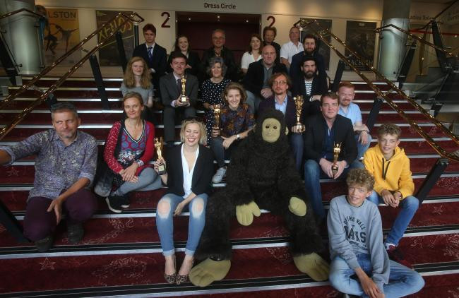 Sarah Keyworth poses with the winners of the Herald Angel award at the 2018 Edinburgh Fringe