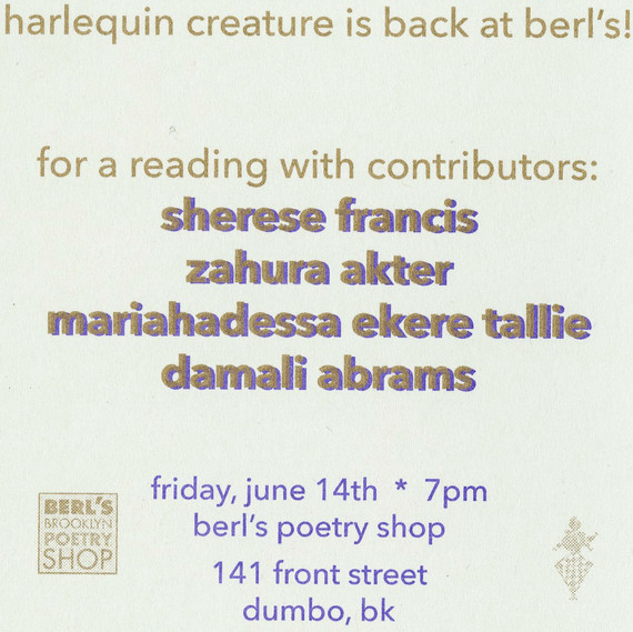 A reading for social justice hosted by Harlequin Creature