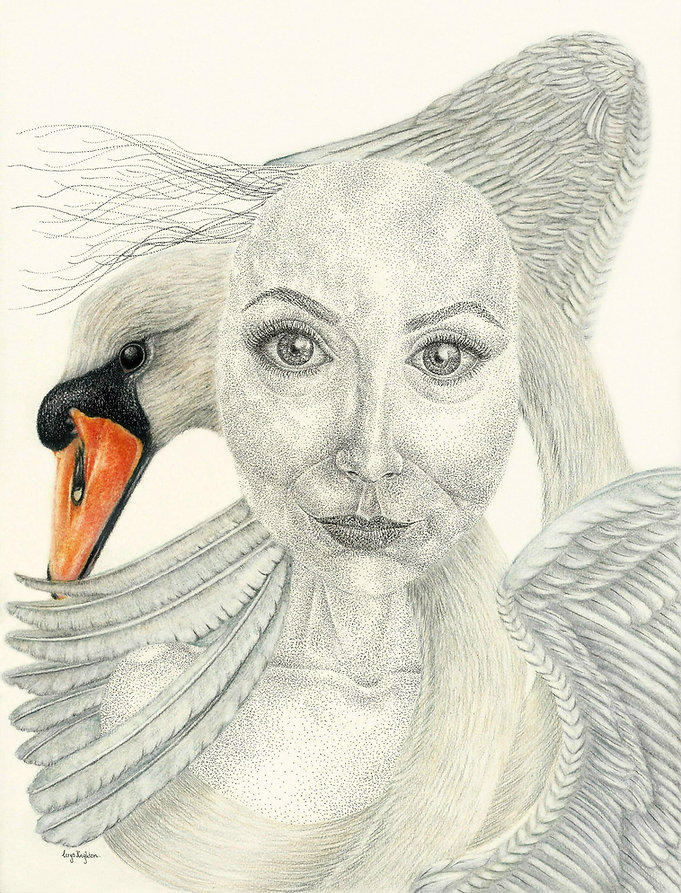 Cerys Knighton ink pointillism and pencil artwork, Sleep Well.