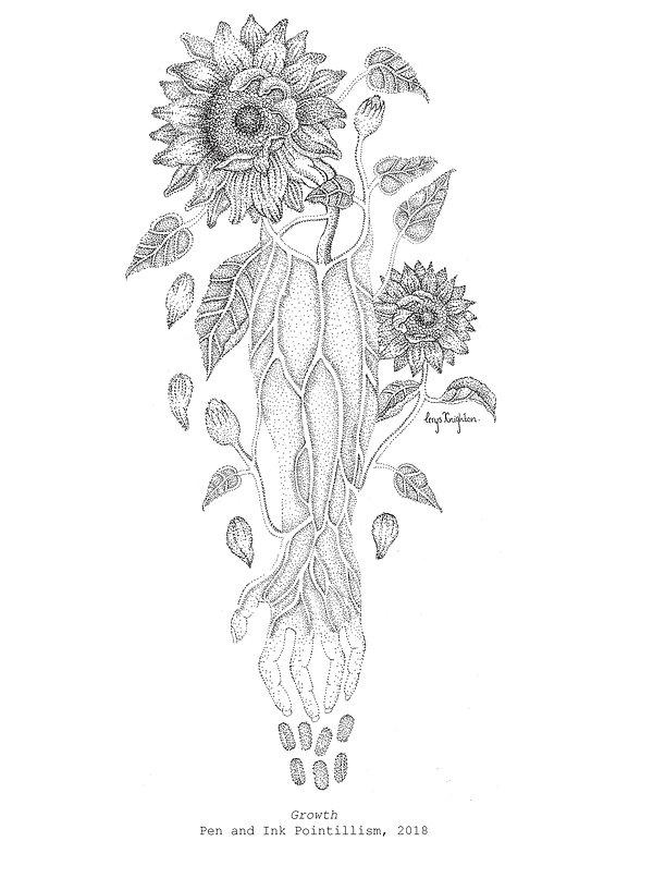 Cerys Knighton Artist. Anatomical illustration, hand, wrist, forearm, sunflower, stem, vines, leaves, petals, veins, growth, organic, restoration