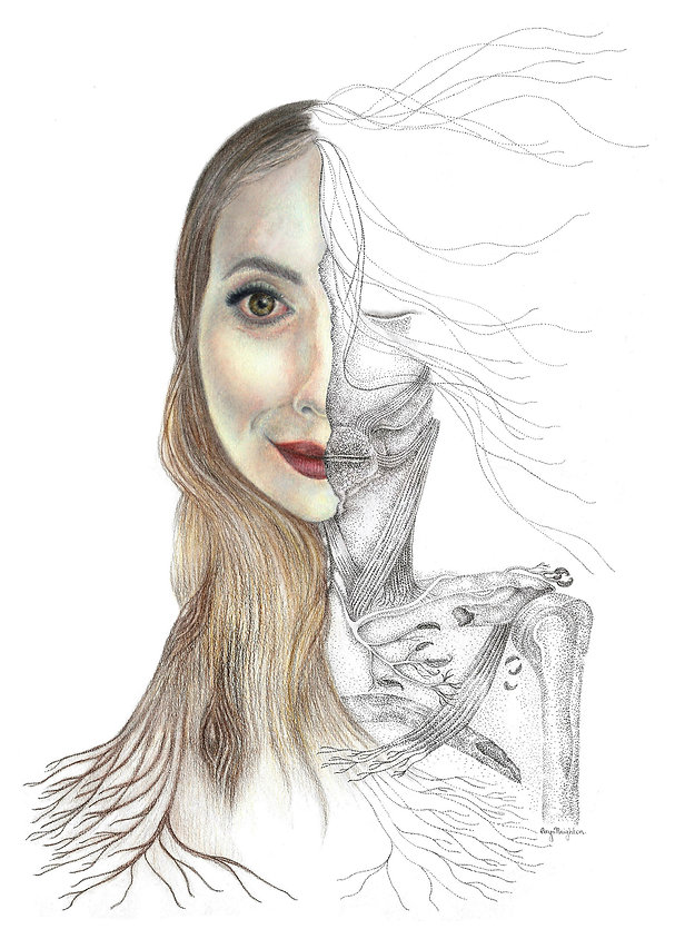 Cerys Knighton ink pointillism and pencil artwork, 'Gaia - Bipolar, Psychosis and the Rotting Body'.