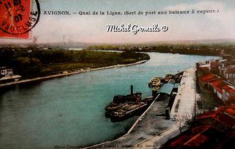Bords du Rhône Quai de la Ligne  Avignon. Cartes postales anciennes. Michel Gromelle. Avignon la cité mariale.