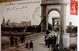 Pont suspendu Avignon. Cartes postales anciennes. Michel Gromelle. Avignon la cité mariale.