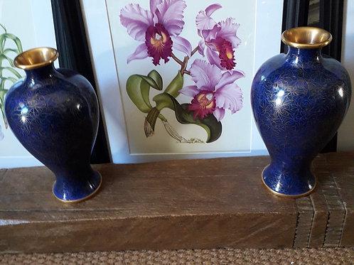 Pair Cloisonné vases