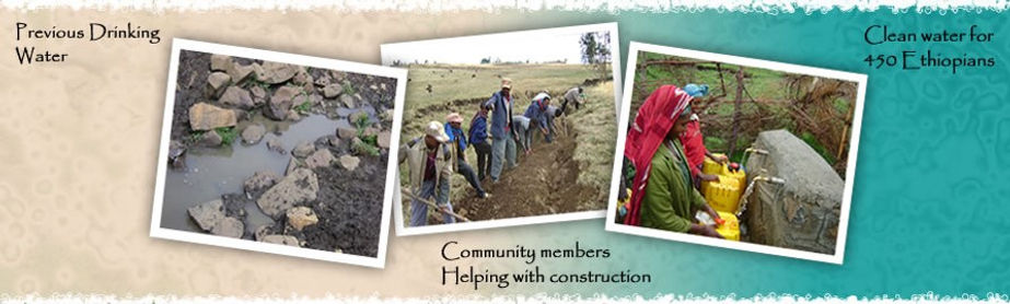 Clean water projects in Ethiopia at Beku Golba capped spring.
