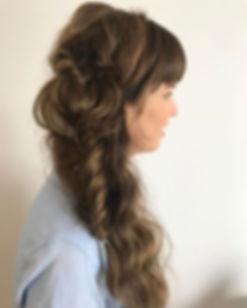 boho half up half down wedding hair