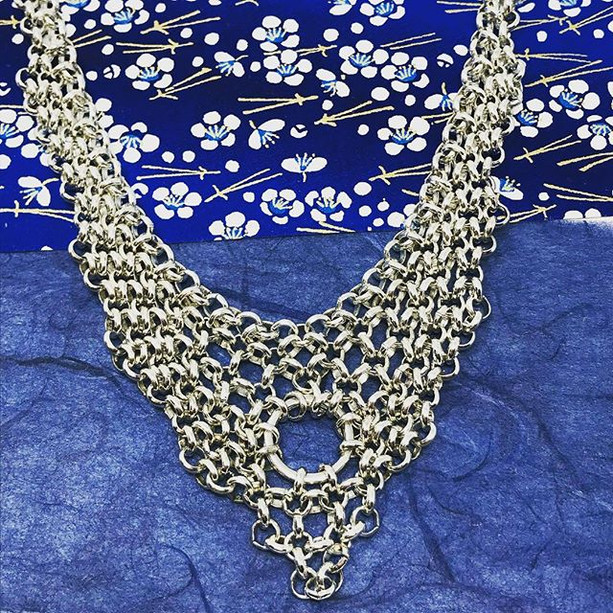 Silver plated micro chainmail choker