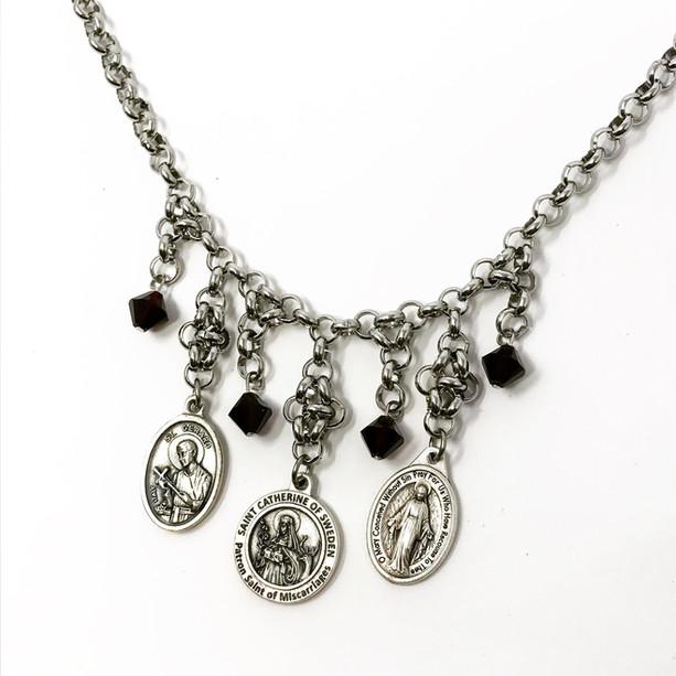 Custom-designed saint medal necklace with Swarovski beads