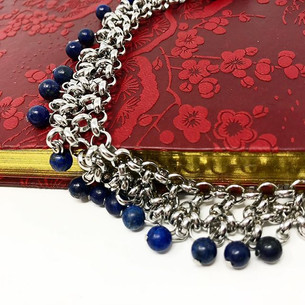Steel and lapis chainmail choker.jpg