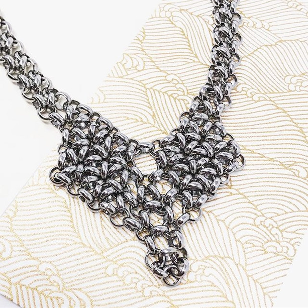 Large chainmail heart necklace