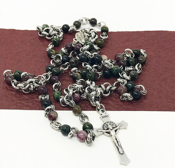 Chainmail rosary in variegated semi-precious tourmaline