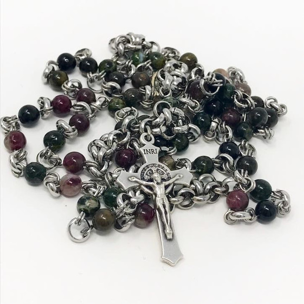 Tourmaline and steel chainmail rosary