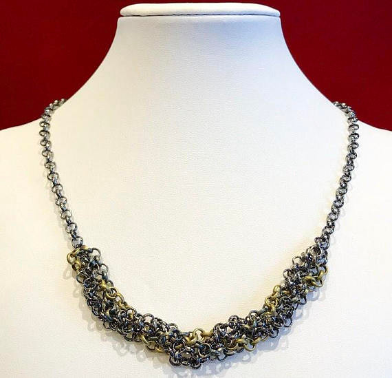 Textured chain in gunmetal, bronze, and aged bronze